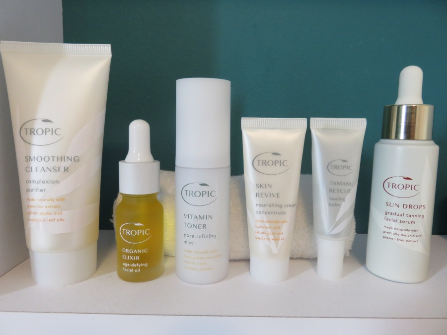tropic skincare products on a shelf