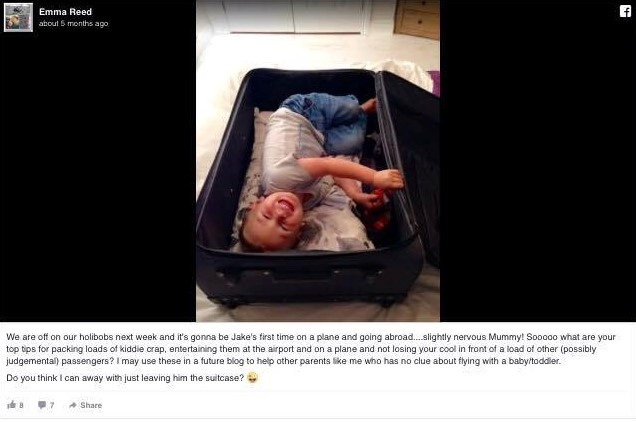 facebook post of child in a suitcase and laughing