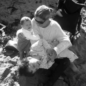 black and white image of mum and 2 kids